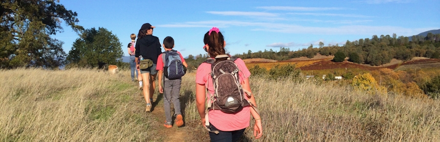 Photo of kids and adults hiking at Highland Springs Recreation Area