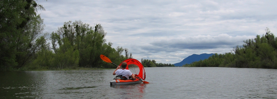Photo of Kayaking in Clear Lake with Mt Konocti in the background