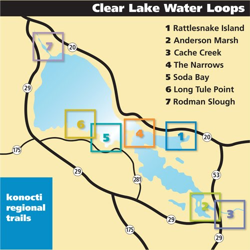 Map of water trails on Clear Lake