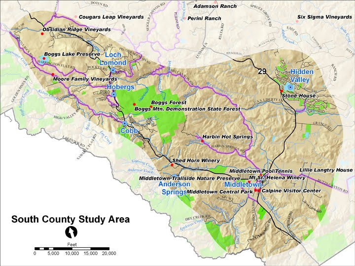 Map overview of South County Study Area