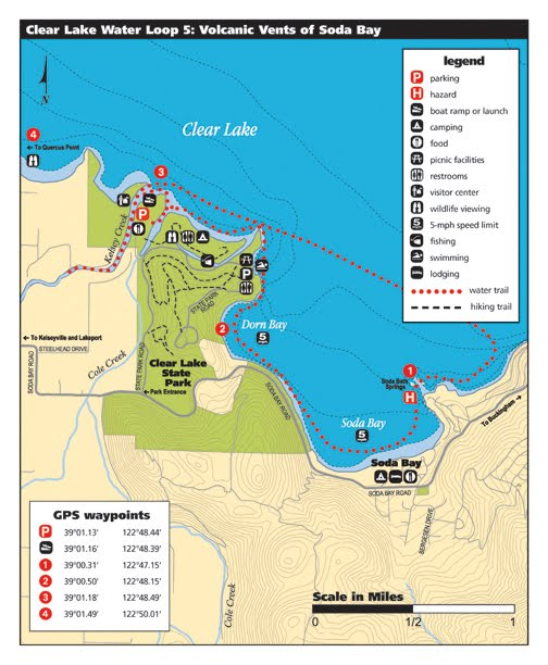 Map of Water Trail 5 - Volcanic Vents of Soda Bay